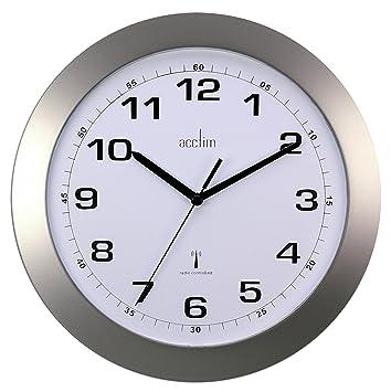 office wall clock. u0027cadizu0027 silver radio controlled wall clock office