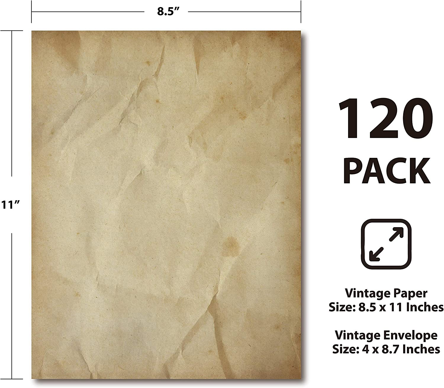Aged Paper Design Parchment Writing Stationary Vintage Paper 120 Pack Antique Looking Papers 6 Assorted Design 8.5 x 11 Inches