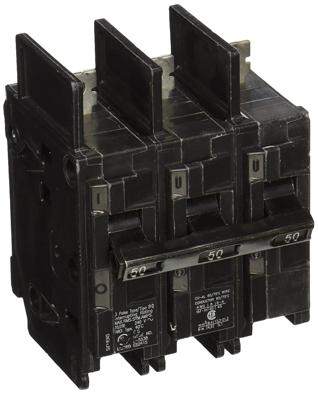 Siemens BQ3B050 50-Amp Three Pole 240-Volt 10KAIC Lug In/Lug Out Breaker Siemens -HI