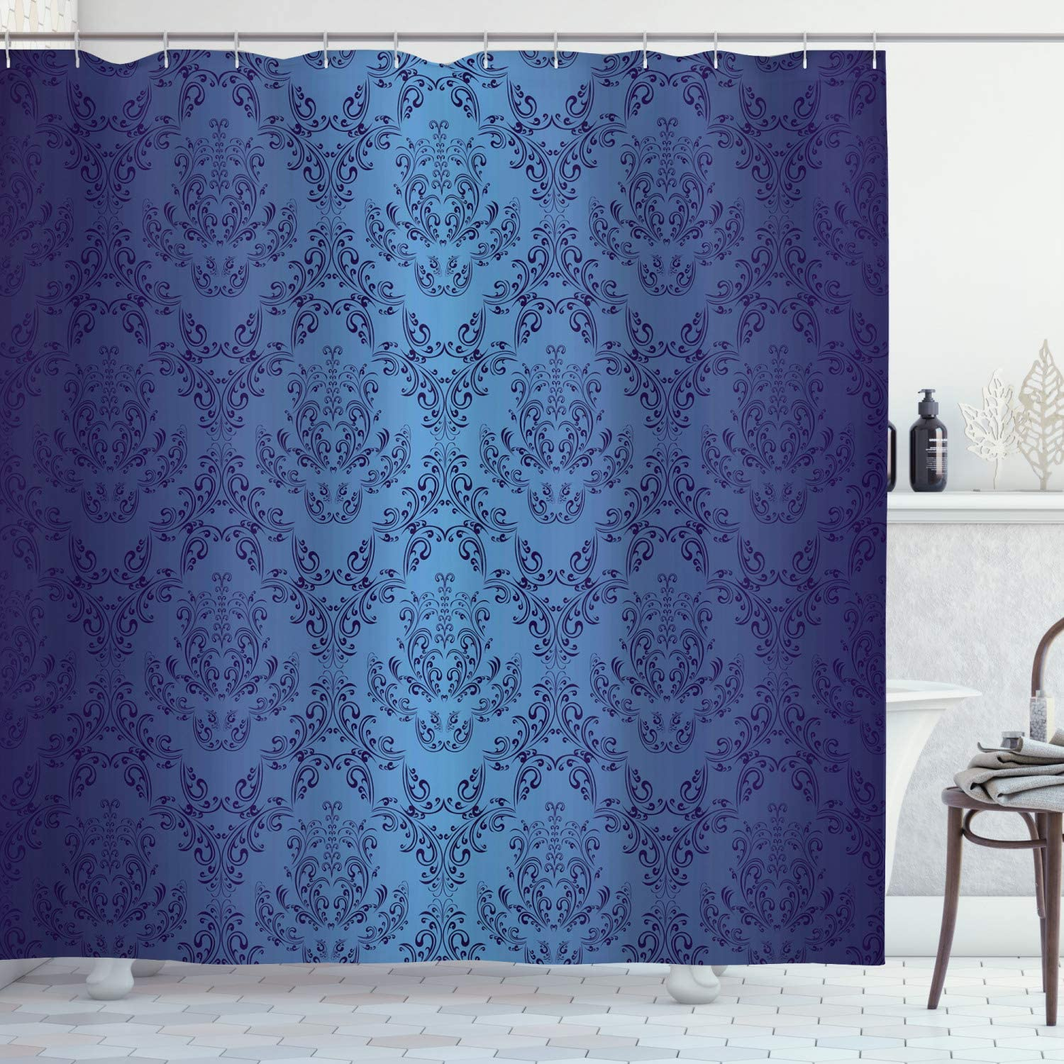 Ambesonne Navy Blue Shower Curtain, Antique Baroque Floral Swirling Patterns Victorian Vintage Retro Style, Cloth Fabric Bathroom Decor Set with Hooks, 70