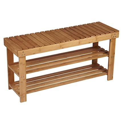Household Essentials Bamboo 2 Shelf Storage Bench Seat, Natural