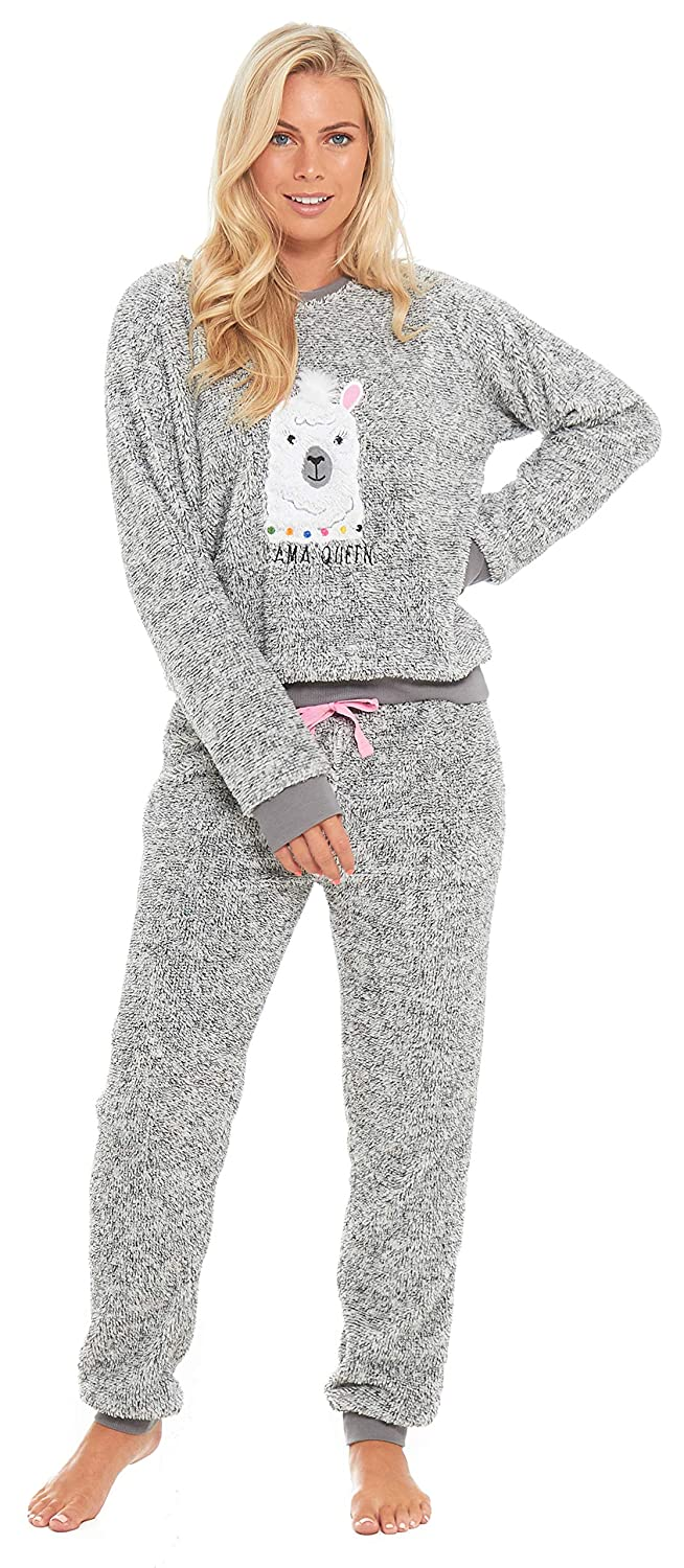 3a21fbb65499 Slumber Hut® Ladies Pug Dog Llama Fleece Pyjamas - Luxury Womens Animal  Novelty Loungewear Twosie Pajamas PJs - Size UK 8 up to 22  Amazon.co.uk   Clothing