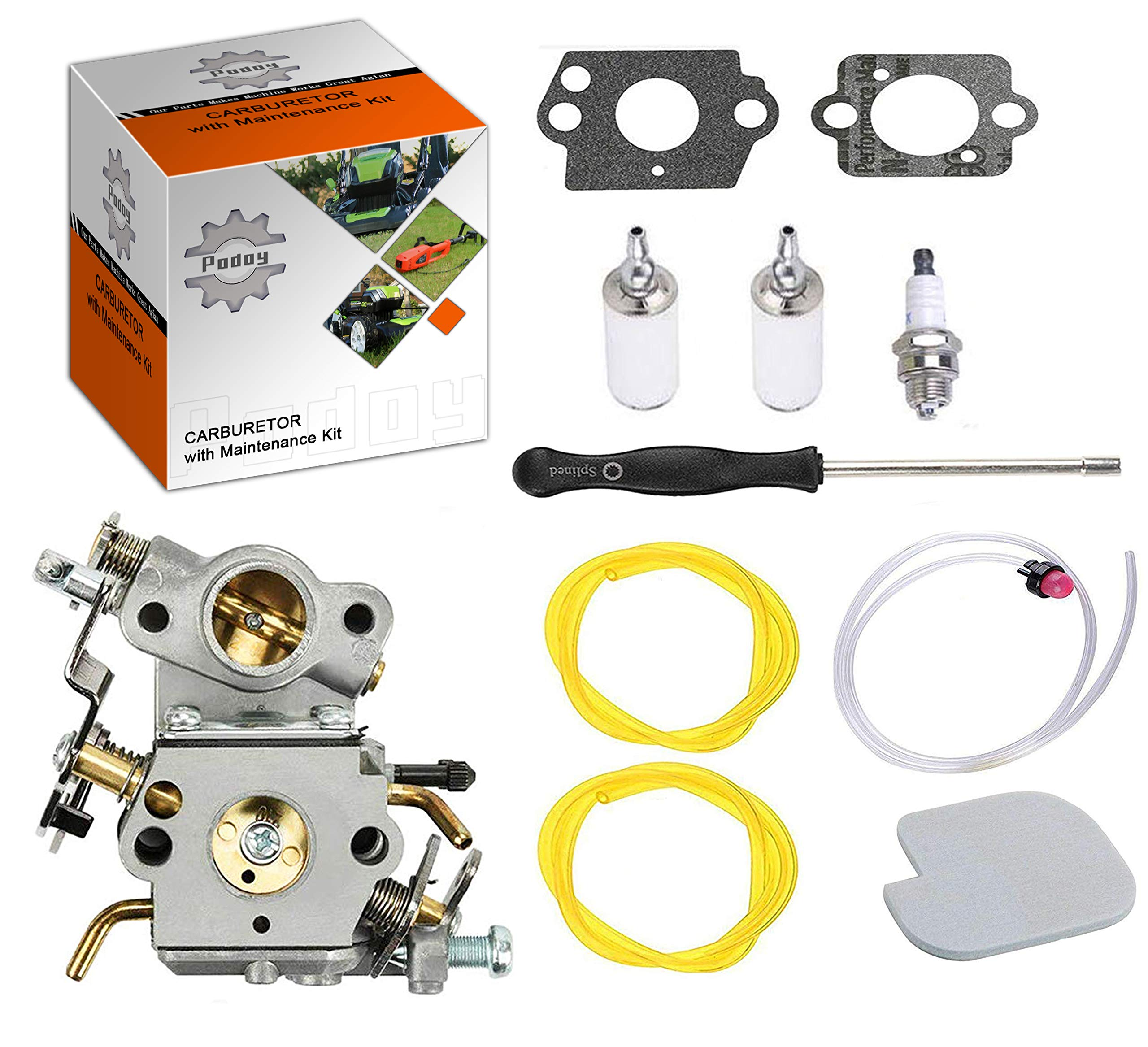 Podoy P3314 Carburetor for Poulan Chainsaw Parts PP4218A Air Fuel Filter with Adjustment Tool Tune-up Kit for P3416 P3816 P4018 PP3416 PP3516 PP3816 PP4018 PP4218 PPB3416 PPB4018 PPB4218 545070601 by Podoy