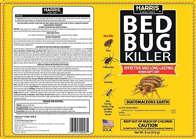 Amazoncom Harris Hde 8 Bed Bug Powder Diatomaceous Earth 8oz