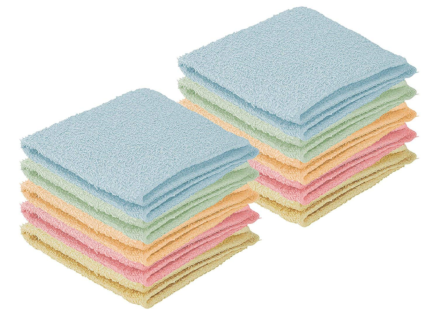 DecorRack 20 Pack 100% Cotton Wash Cloth, Luxurious Soft, 12 x 12 inch Ultra Absorbent, Machine Washable Washcloths, Assorted Colors (20 Pack)