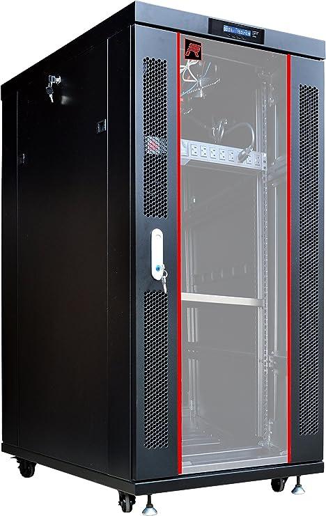 Amazon Com Sysracks Server Rack 27u Network Enclosure 32 Inch Deep Data Cabinet On Wheels Fully Locking Network Rack Thermostat Lcd Screen Power Strip 4 Cooling Fans Shelf Computers Accessories