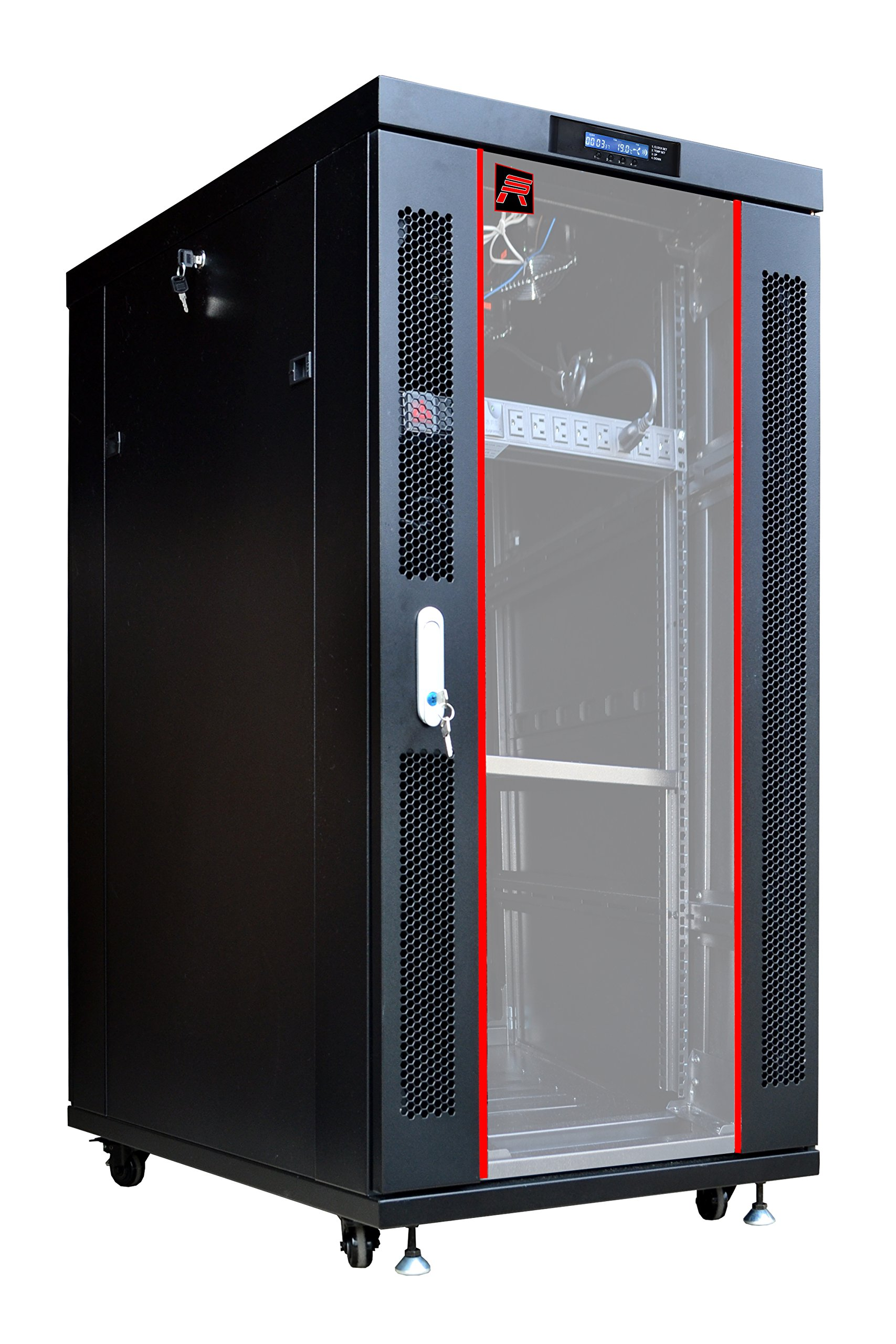 27U Free Standing Server Rack Cabinet.Fit most of servers. ACCESSORIES FREE!! Network IT Rack Cabinet Enclosure. ...