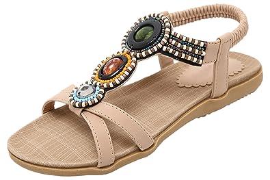 Sandals For Women By BIGTREE Summer Beach Bohemian Peep Toe Shiny Rhinestone Beads Flats Sandals