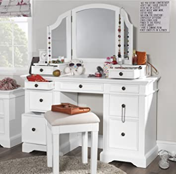 Gainsborough White Dressing Table With Extension Drawers And 3 Way Mirror.  Stunning FULLY ASSEMBLED