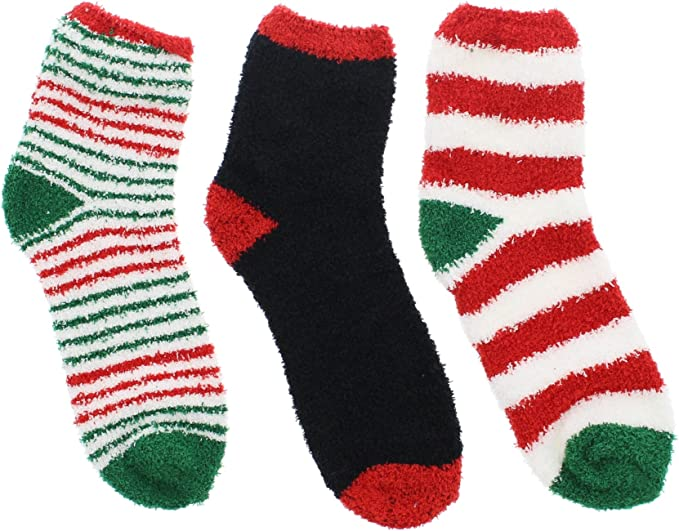 Cozy Toes Christmas Slipper Socks Red /& White Stripe
