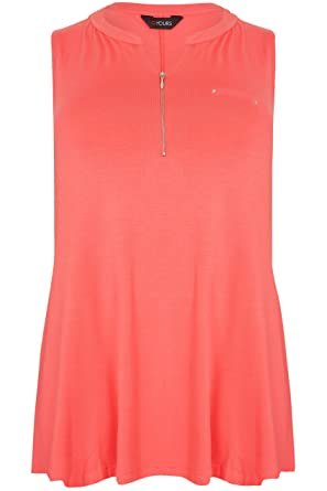 7b8bf8f701a Yours Clothing Women s Plus Size Coral Jersey Top with Zip Front Size 16  Pink