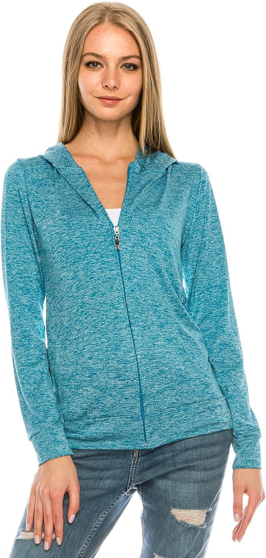 EEVEE Women's Full Zip Hoodie - Slim Fit Thin Lightweight Jacket Long Sleeve Sweater Active Yoga Running Hooded Sweatshirt