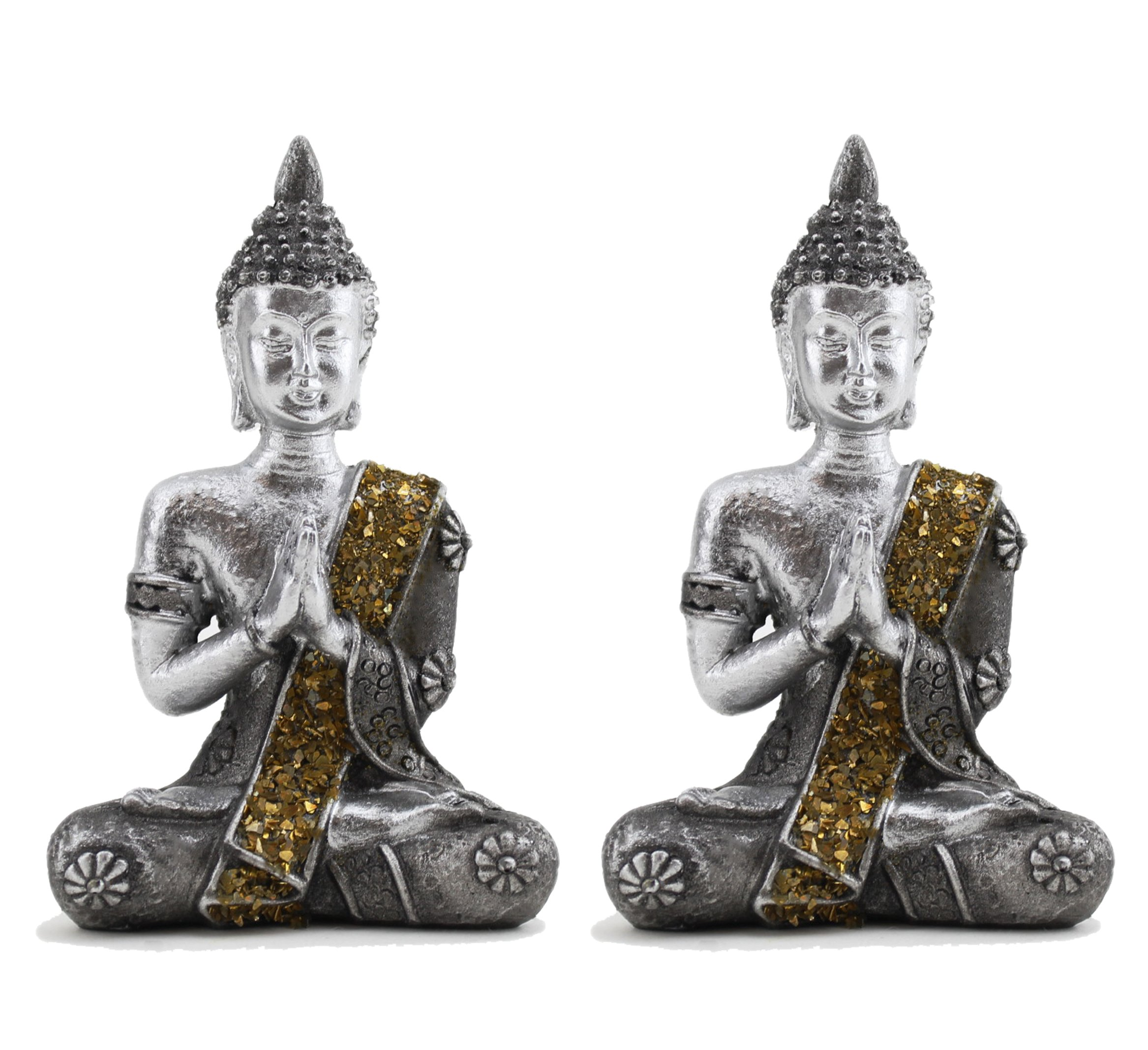 Pair of Small Feng Shui 4'' Tall Thai Praying Meditating Silver Buddha Statue Figurine Feng Shui (2G16608) ~ We Pay Your Sales Tax by We pay your sales tax