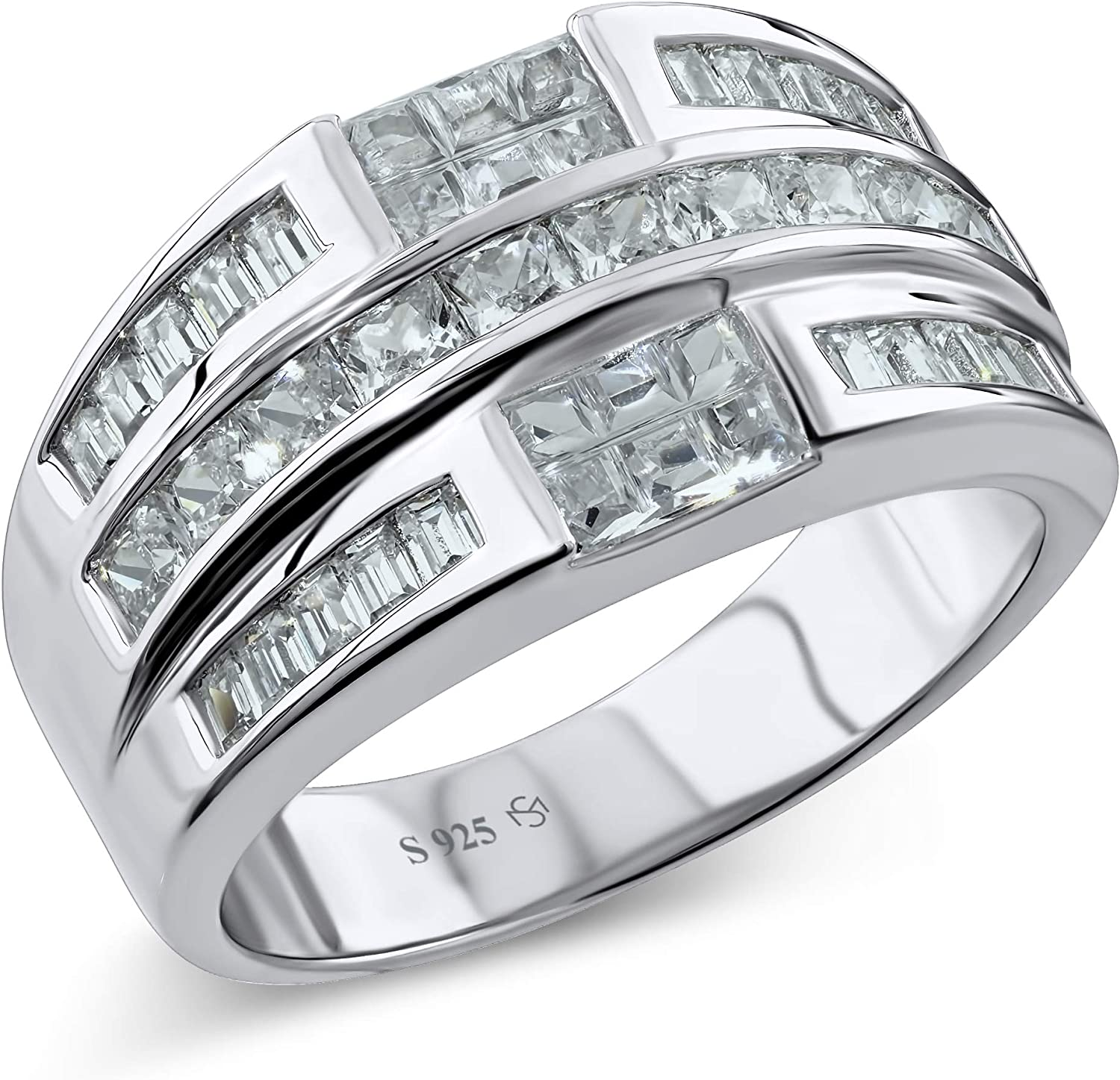 [2-5 Days Delivery] Men's Sterling Silver .925 Ring Band Featuring 32 Baguette and Square Cubic Zirconia (CZ) Stones, Platinum Plated Jewelry