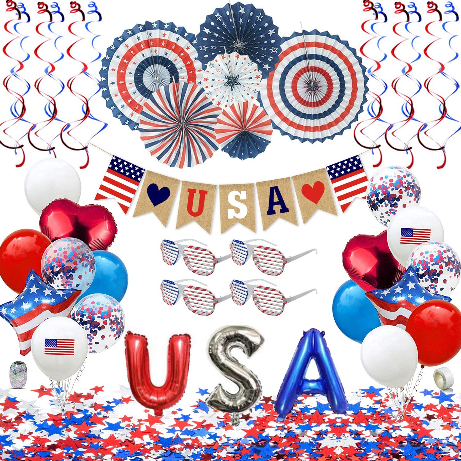 Patriotic Decorations - American Flag Party Supplies, 45 pcs Patriotic Party Supplies Including Paper Fans, Banner, Shades Glasses, Balloons, Star Confetti, Hanging Swirl