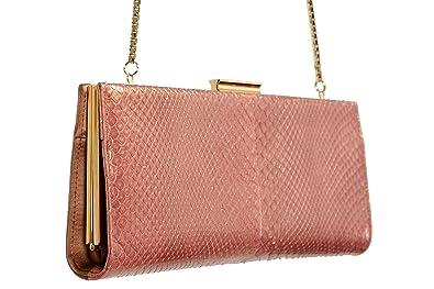d5ca0371d8b4 Salvatore Ferragamo Women s quot KAMERON quot  Python Skin Leather Canvas  Clutch