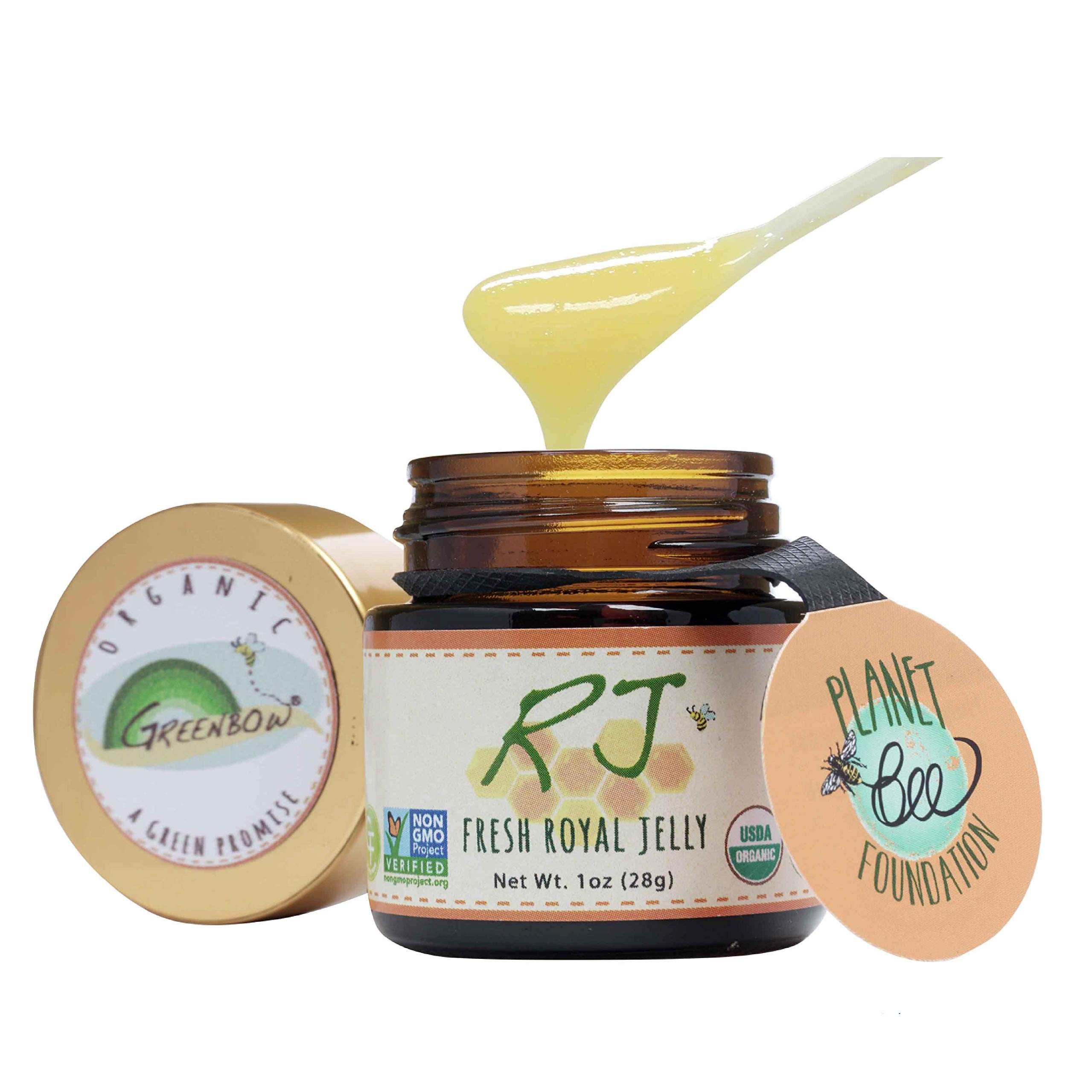 GREENBOW Organic Fresh Royal Jelly - 100% USDA Certified Organic, Pure, Gluten Free, Non-GMO Royal Jelly - One of The Most Nutrition Packed Diet Supplements - (28g)