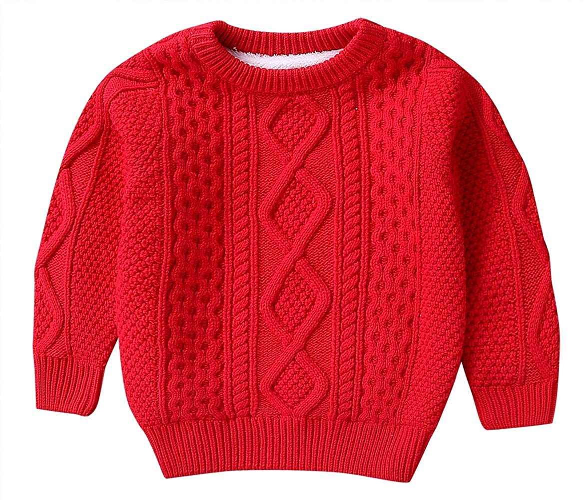 Happy Cherry Unisex Baby Cable Knit Sweater Round Neck Pullover Sweatshirt