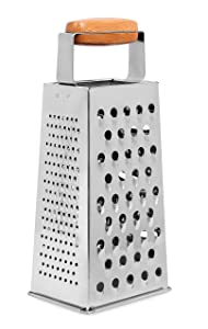 Internet's Best Stainless Steel and Bamboo Box Grater | 4 Sided Grater and Slicer | 9.5 Inch | Hand Shaver for Cheese Fruit Vegetable Root Nuts | Wood Handle