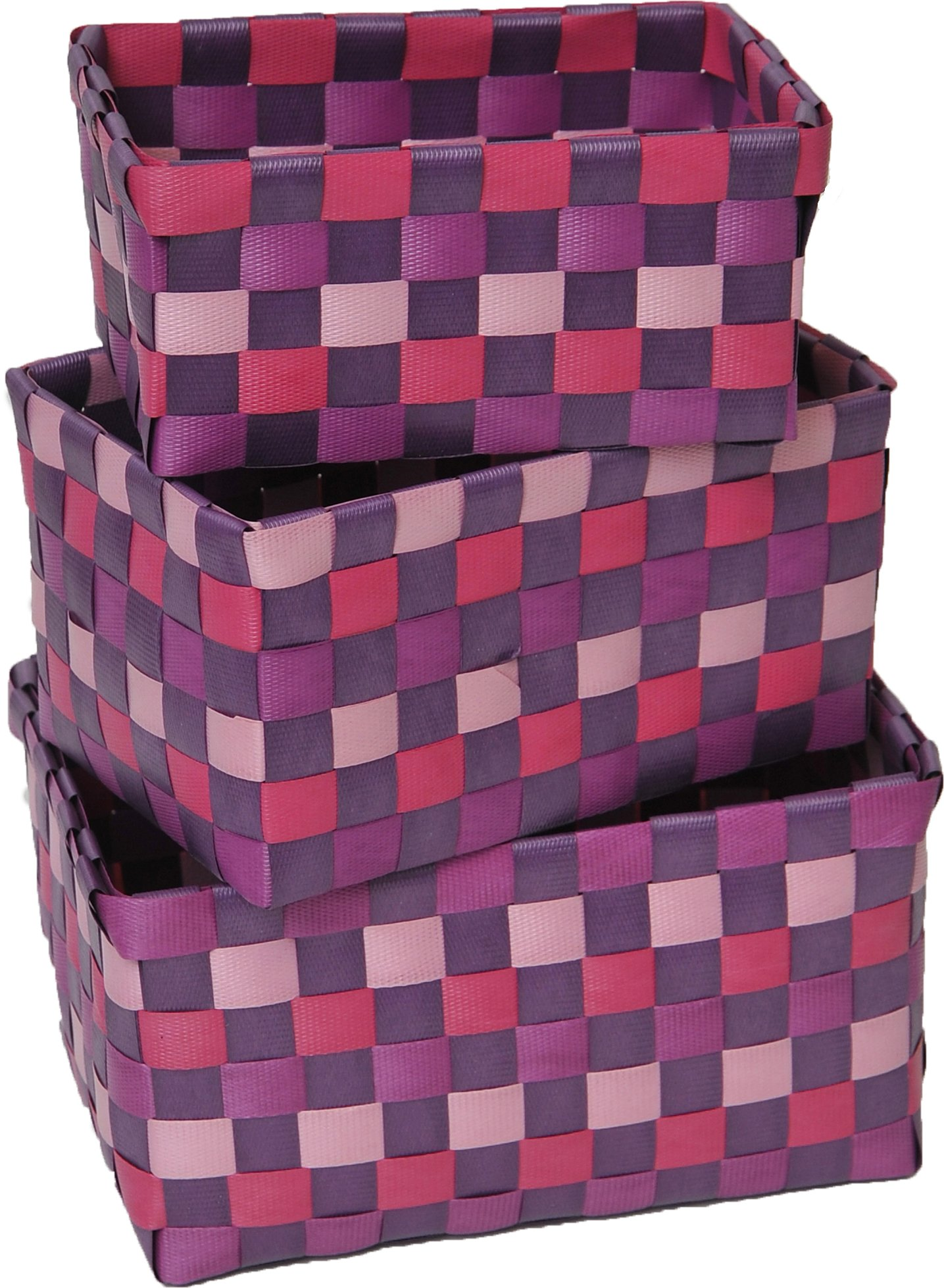 EVIDECO 8402170 Checkered Woven Strap Storage Baskets Totes Set of 3 Purple, 7.48 L x 5.12 W x 3.74 H, - HIGH-QUALITY: This set of 3 storage baskets is made of durable polypropylene, it will last for years DESIGNER ARTWORK: nice checkered woven strap design which brings an elegant touch to your bathroom. A great addition to any closet, bathroom, kitchen, office or vanity countertop! LARGE CHOICE : 11 colors available from black to red, grey, purple or white to name a few - living-room-decor, living-room, baskets-storage - 81ygNhHqb6L -