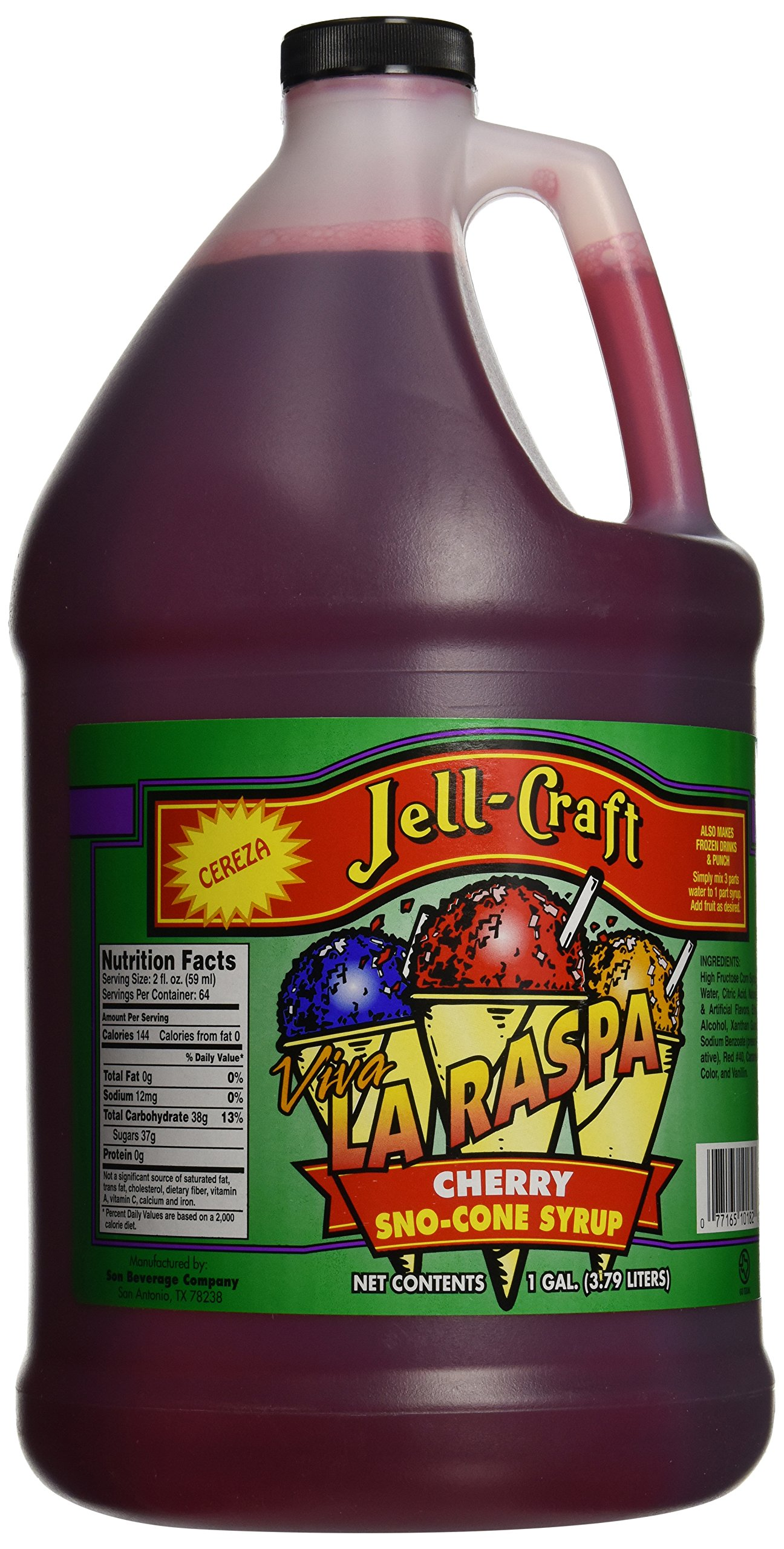Jell-Craft Cherry Snow Cone Syrup, 128 Ounce