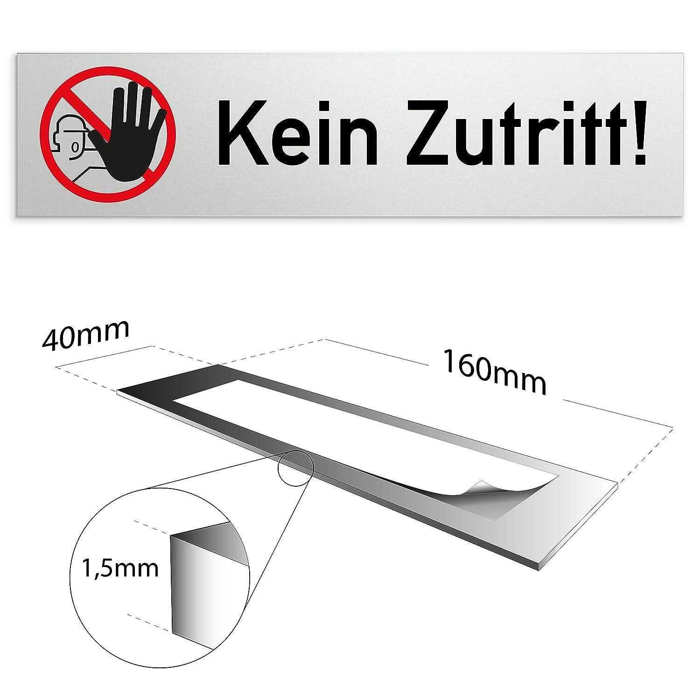 eloxiertes Vollmaterial Ausgang T/ürschild 160 x 40 x 1,5 mm aus Aluminium   Oberfl/äche in geschliffener Edelstahloptik selbstklebend