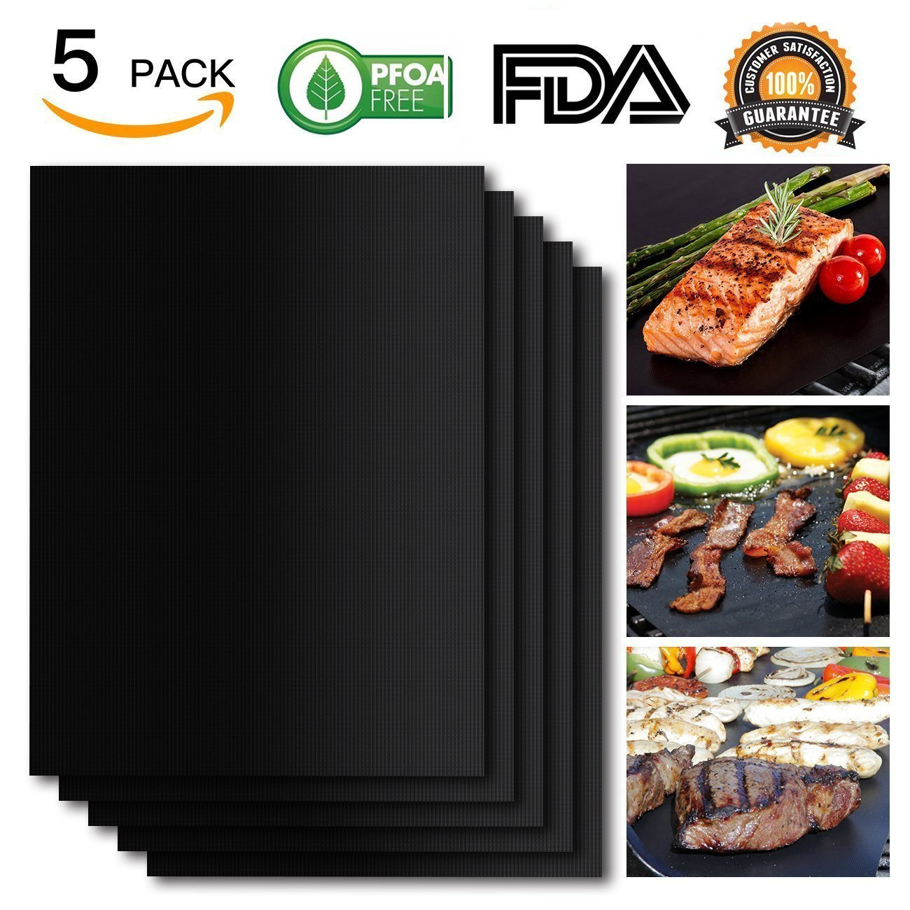 Everteco Grill Mat Set of 5- 100% Non-stick BBQ Grill & Baking Mat Pad - FDA-Approved, PFOA Free, Reusable and Easy to Clean - Works on Gas, Charcoal, Electric Grill and More - 15.75 x 13 Inch