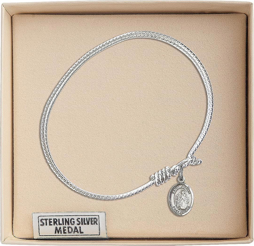 Aaron charm. 7 1//4 inch Oval Eye Hook Bangle Bracelet with a St