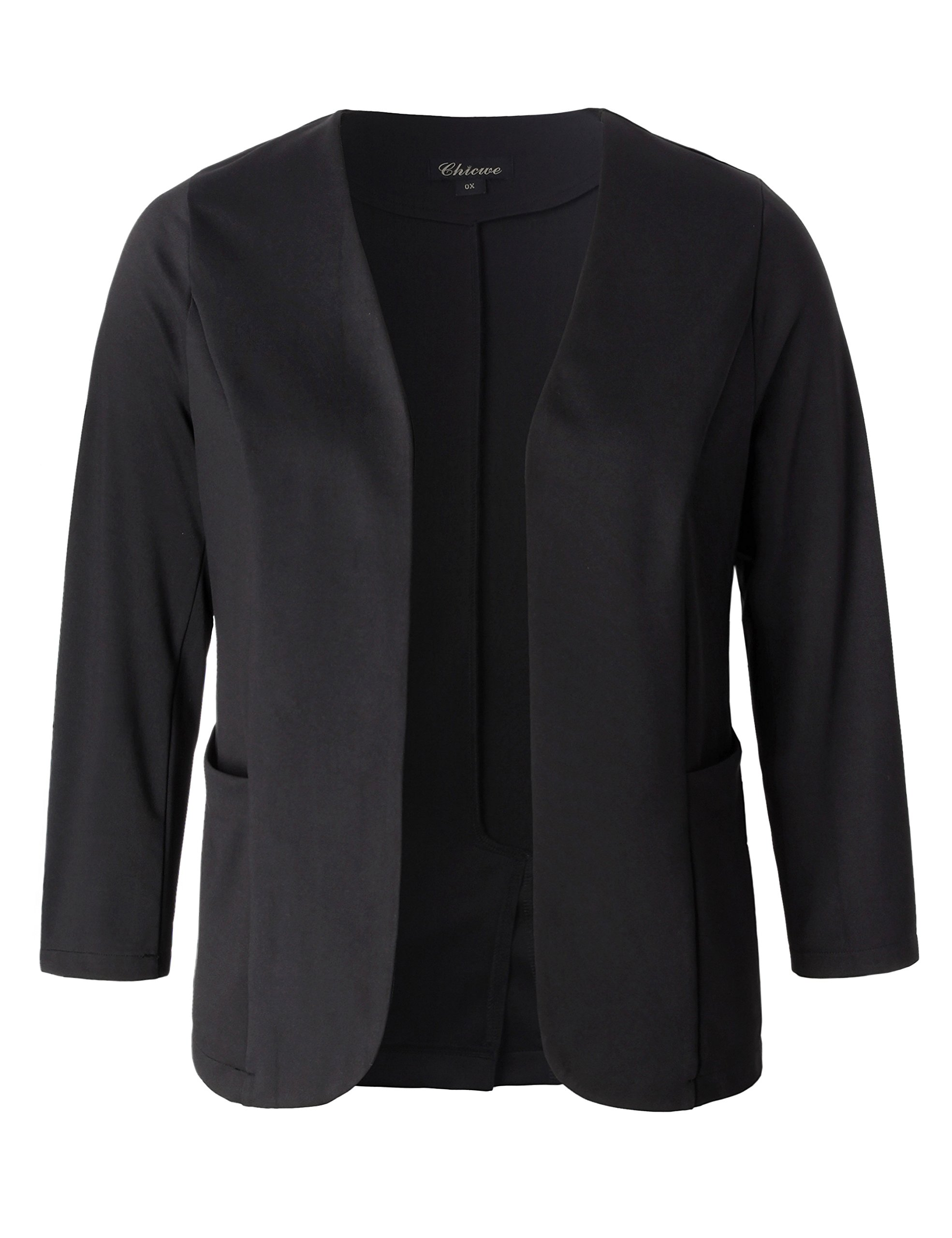 Chicwe Women's Stretch Work Chic Outfit Blazer Plus Size Jacket with Pockets Black 4X