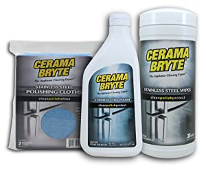 Cerama Bryte Stainless Steel Cleaning Kit: Cleaning Polish (with Mineral Oil), Cleaning Polish & Conditioner Wipes, Microfiber Cleaning Cloths