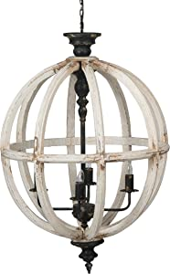 A&B Home Distressed White 4-Light Chandelier, Dimensions: 23.6L x 23.6W x 33.9H Inches