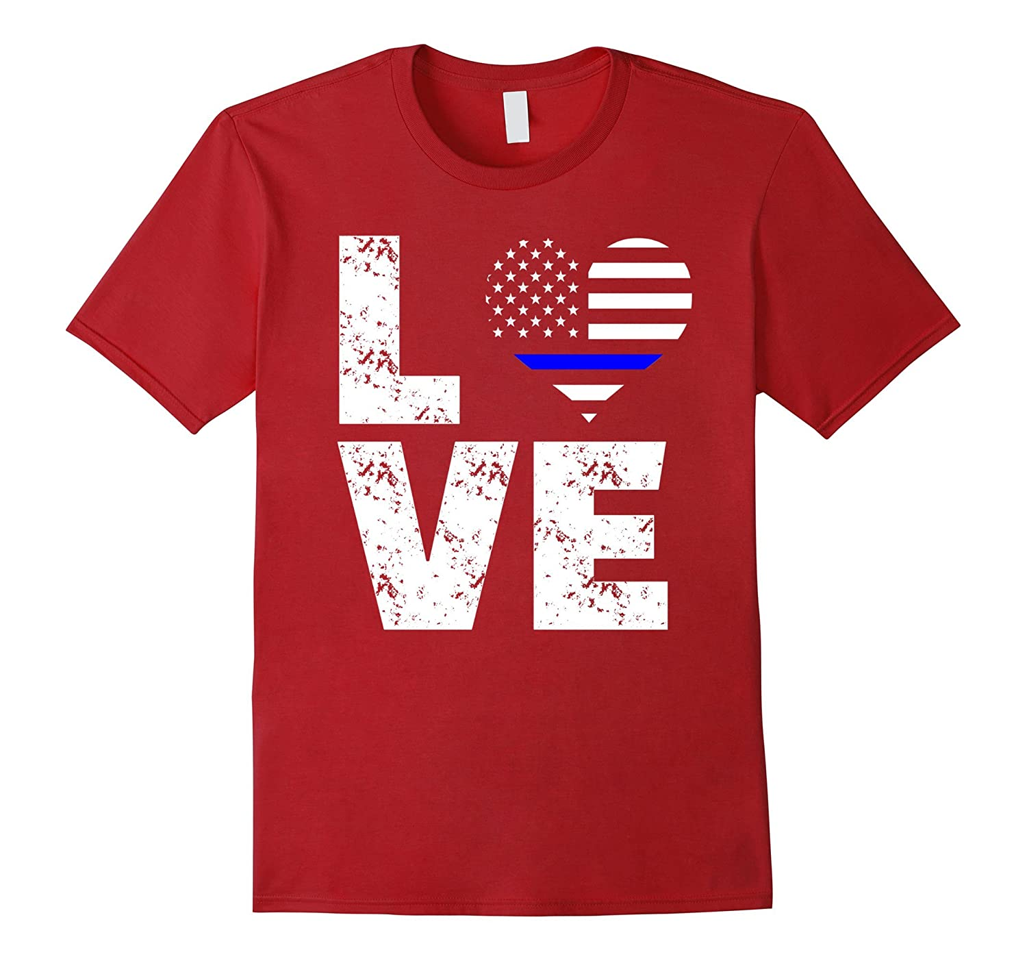 Love Thin Blue Line T-Shirt Police Law Enforcement Support-TJ