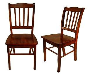 Boraam 30636 Shaker Chair, Walnut, Set of 2