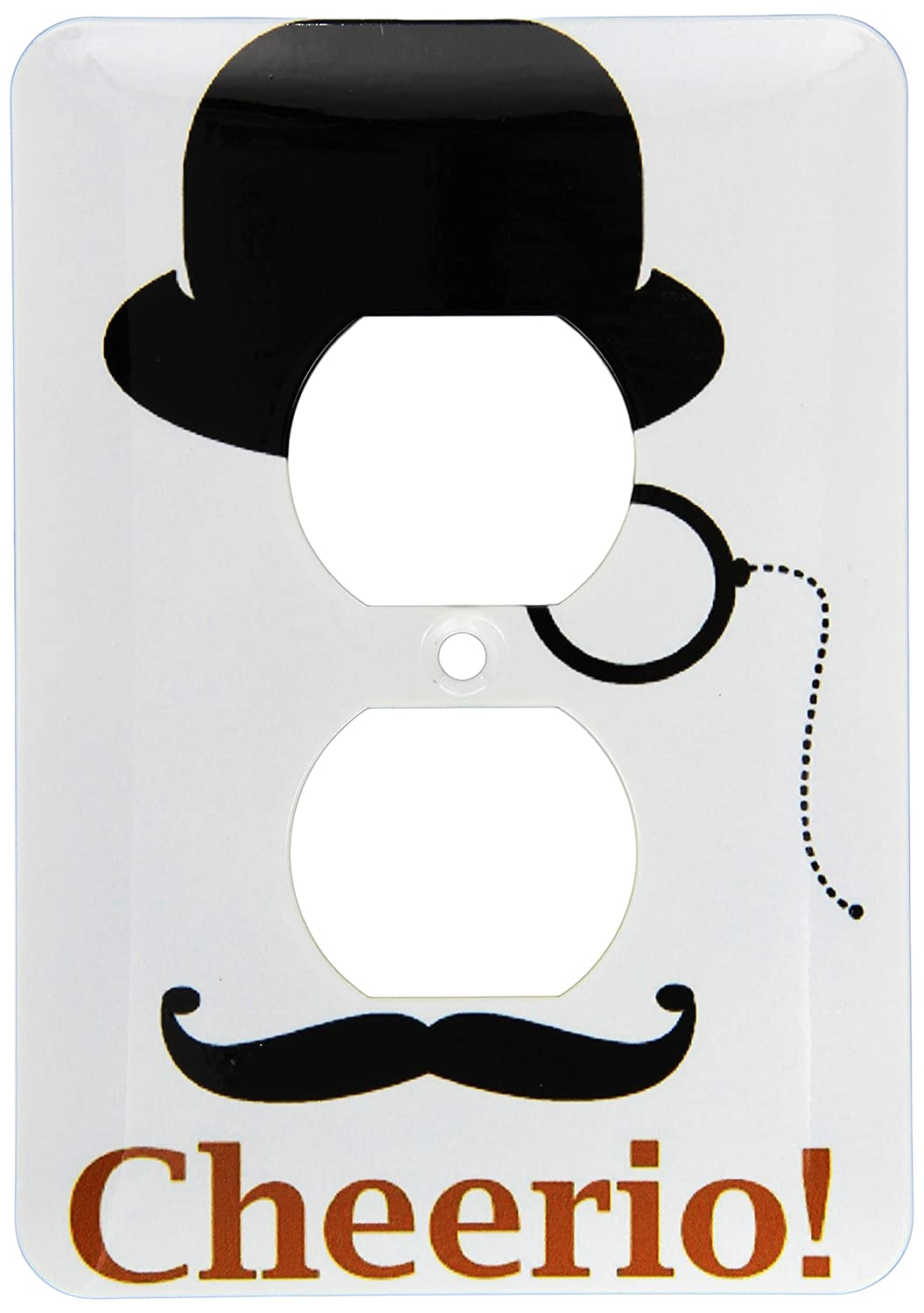 3dRose lsp_210936_6 Top Hat, Monocle, With A Mustache and The Word Cheerio 2 Plug Outlet Cover