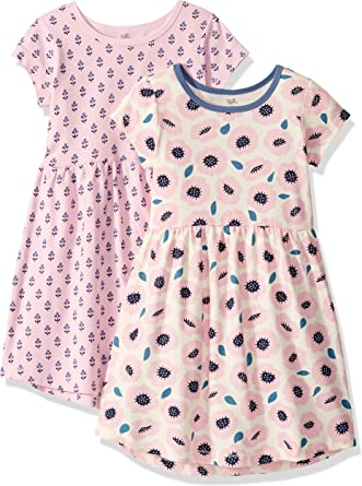 Touched by Nature Girls 6-9 Months and Baby Organic Cotton Short-Sleeve Dresses Toddler Garden Floral