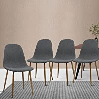 Artiss Dining Chairs Set of 4, Fabric Upholstered Dining Chairs with Iron Legs, Grey