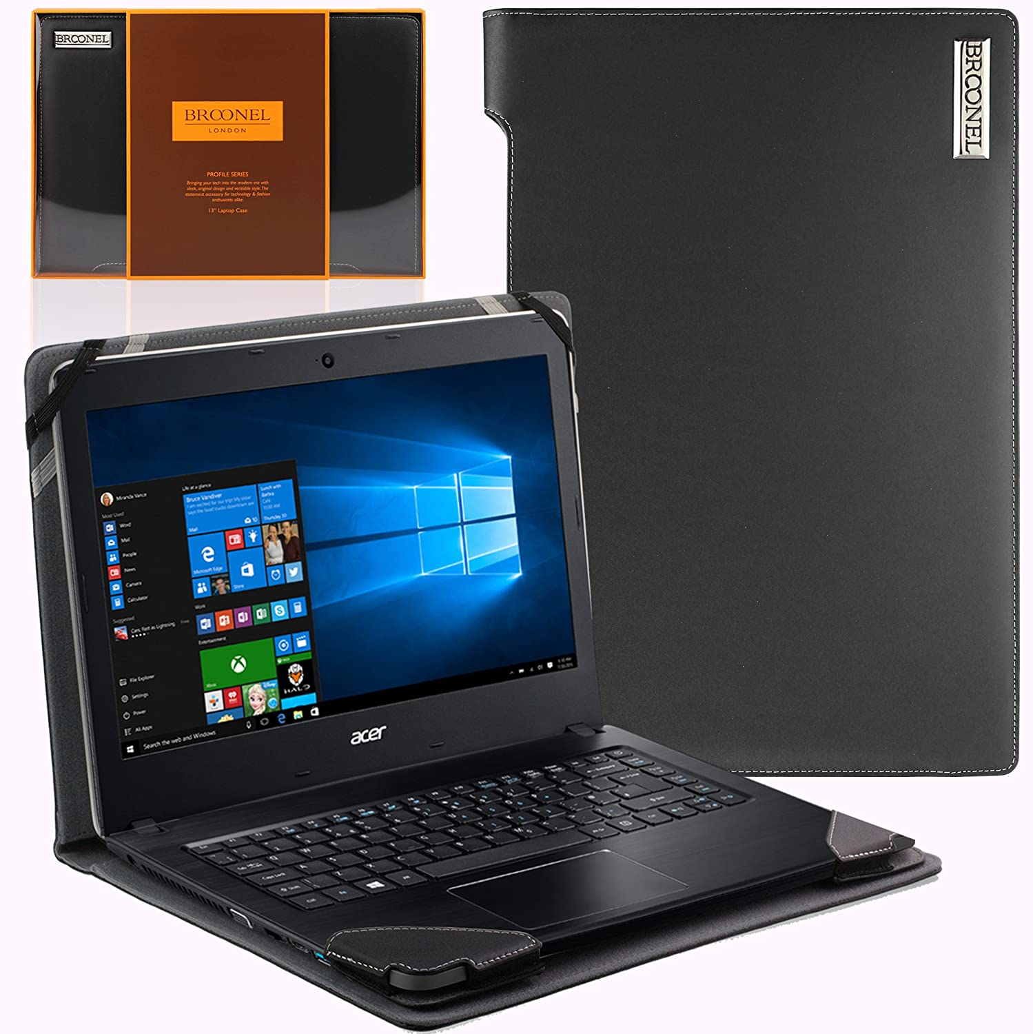 Navitech Black Real Leather Folio Case Cover Sleeve Compatible with The ACER Aspire V13 (V3-371)