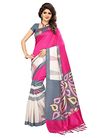 922f890890275a SAREE MALL Women s Art Silk Saree (SRJ025  Pink  Free Size)  Amazon.in   Clothing   Accessories