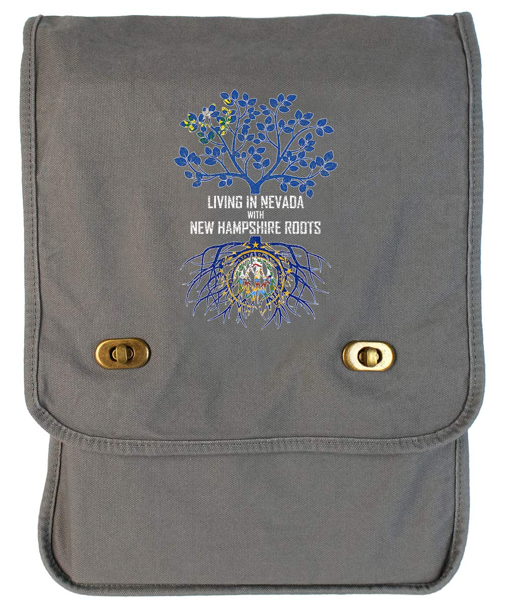 Tenacitee Living In Nevada with New Hampshire Roots Grey Brushed Canvas Messenger Bag