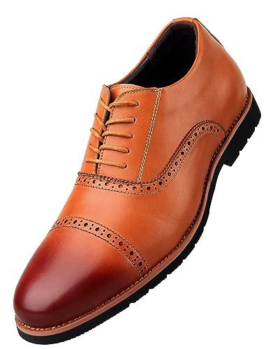5a5147e841a3c iLoveSIA Men's Formal Wingtip Cap-Toe Dress Oxford Leather Shoe Brown US  Size 7