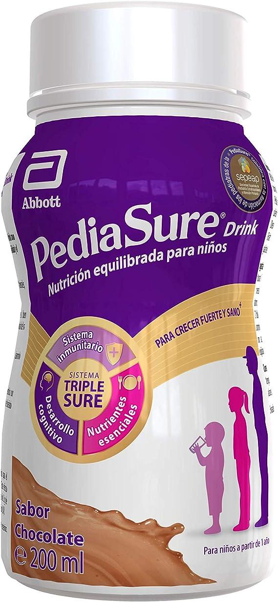 PediaSure Complemento Alimenticio para Niños, Sabor Chocolate, con Proteínas, Vitaminas y Minerales - Pack de 4 Botellas x 200 ml