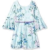 Amy Byer Girls' Belted Allover Lace Bellsleeve Dress