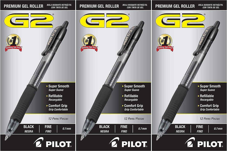 31020 Fine Point Black Ink 3 Pack PILOT G2 Premium Refillable /& Retractable Rolling Ball Gel Pens 12 Count
