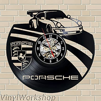 Porsche vinilo reloj de pared 12 en (30 cm) color negro decoración moderna reloj