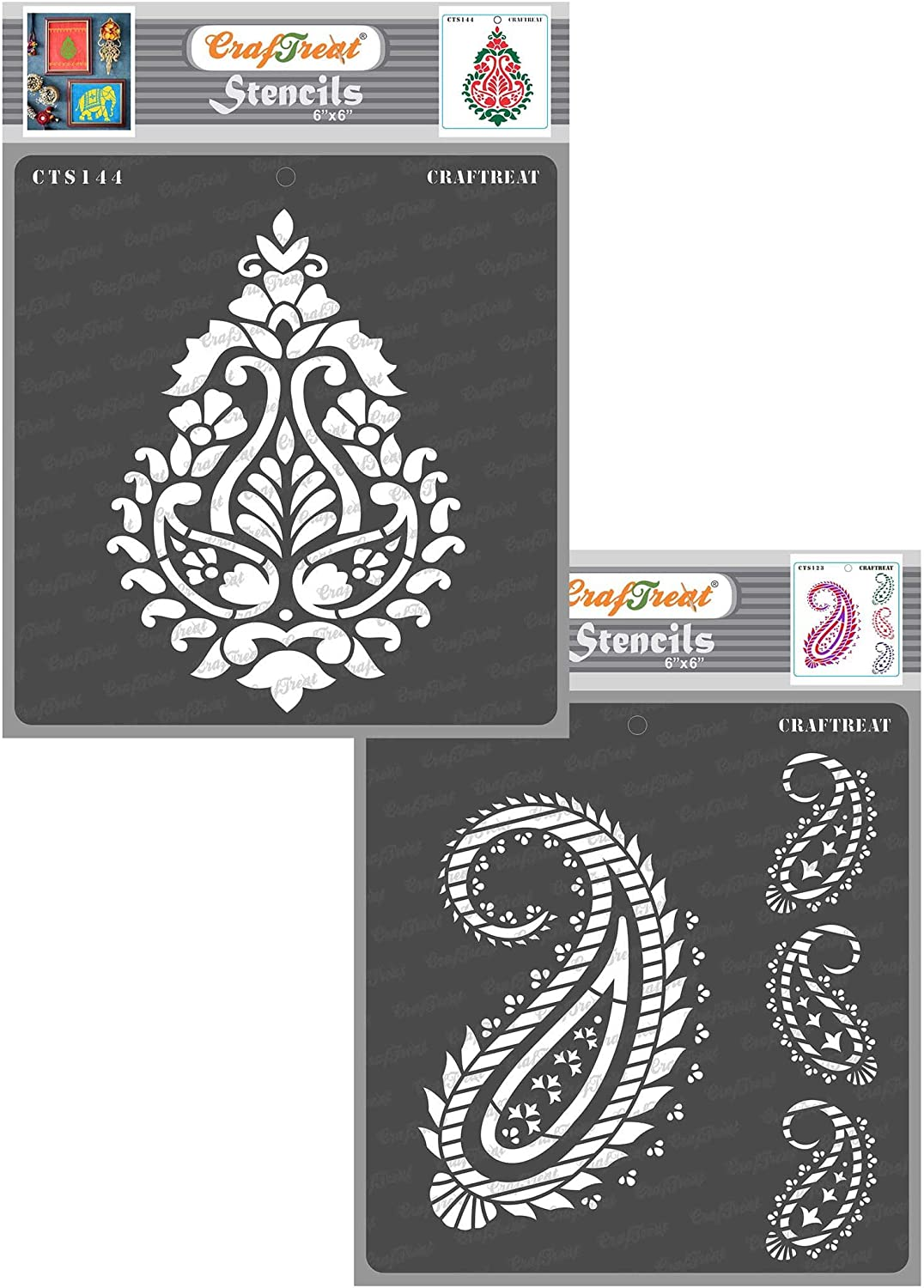 CrafTreat Paisley Stencils for Painting on Wood, Canvas, Paper, Fabric, Floor, Wall and Tile - Paisley Damask and Paisley and Border - 2 Pcs - 6x6 Inches Each - Reusable DIY Art and Craft Stencils