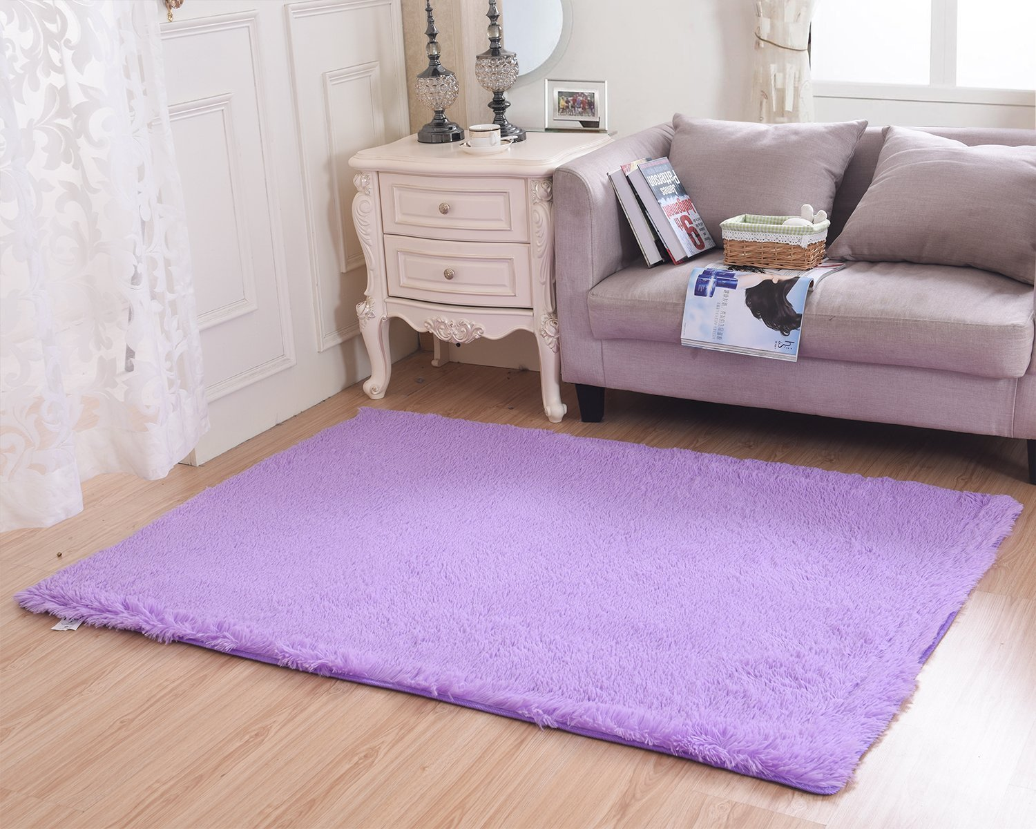 Living Room Rug, CWKTITI Super Soft Indoor Modern Shag Area Rugs Bedroom Rug for Children Play Solid Home Decorator Floor Rug and Carpets 4- Feet By 5- Feet, Purple
