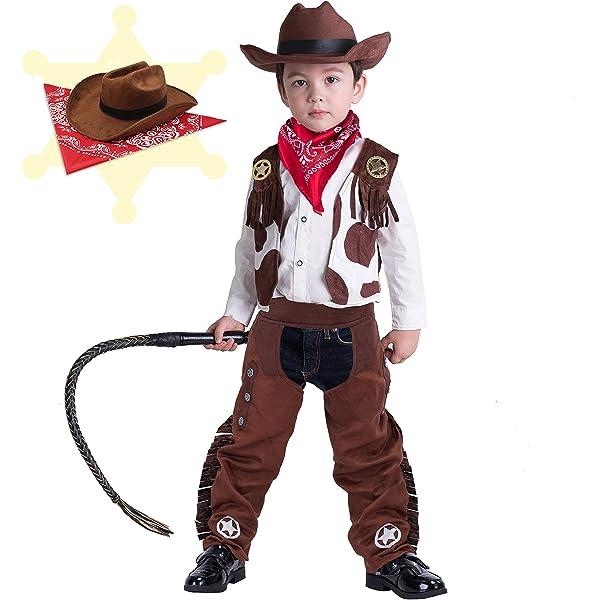 Boys Kids Wild Western Cowboy Fancy Dress Role Play Dress Up Costume Kit /& Hat