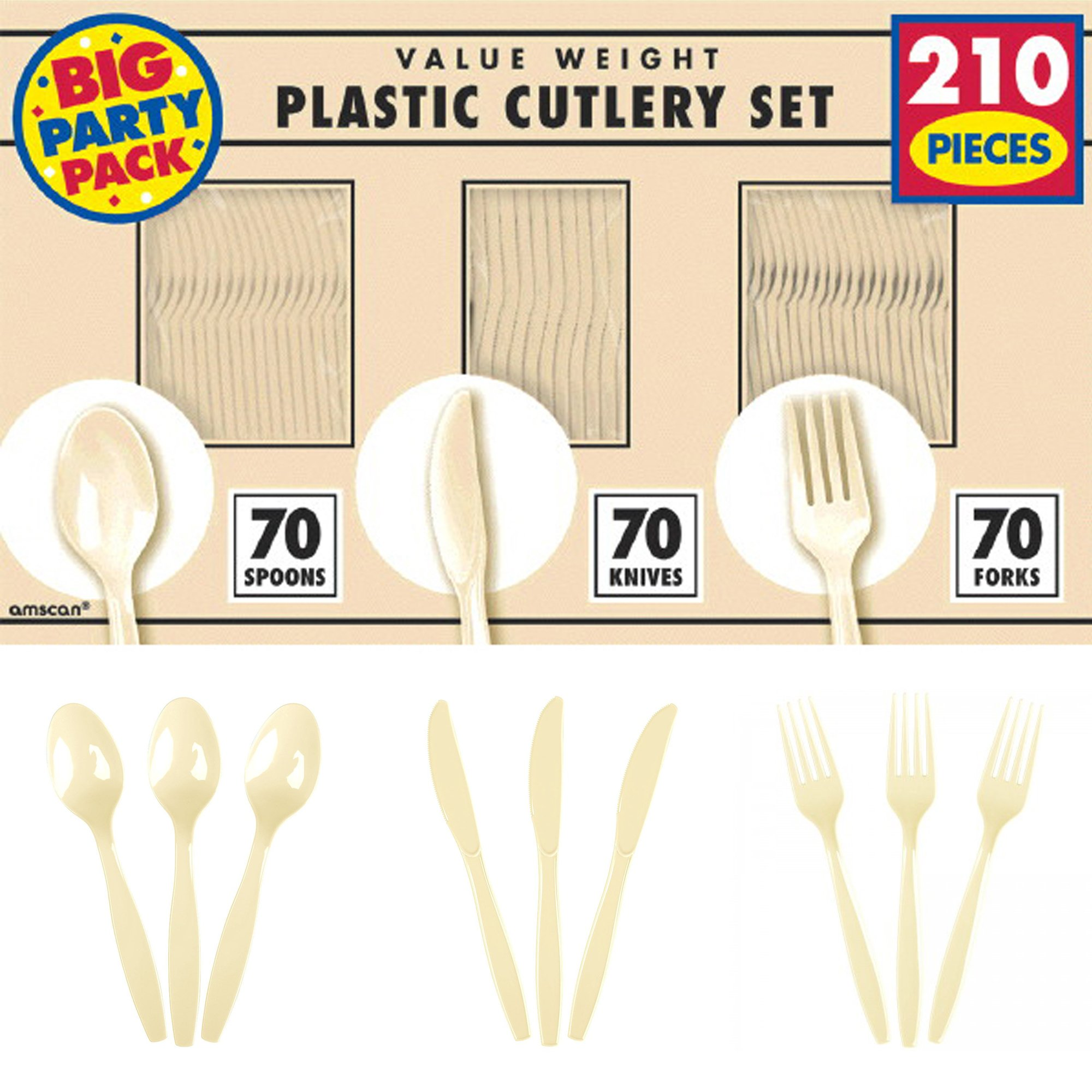 Amscan Reusable Big Value Window Box Cutlery Set Vanilla Crème Plastic 6'' x 11'' Pack 210 Party Supplies (1680 Piece)