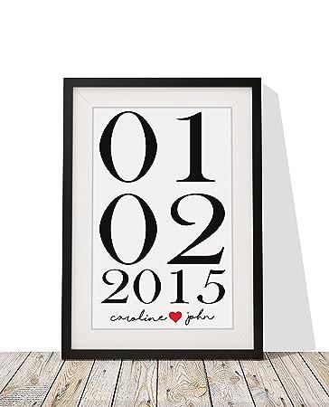 Hochzeit Geschenk Personalisierte Gerahmter Druck Braut Grooms Name Datum  12 X10 Handgefertigte Glasierte Rahmen Mit Mount