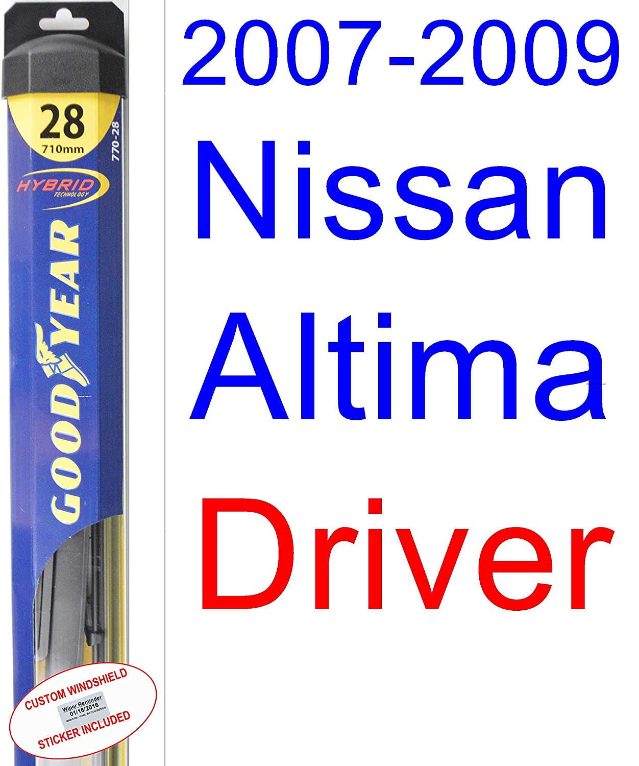 Amazon.com: 2007-2009 Nissan Altima Replacement Wiper Blade Set/Kit (Set of 2 Blades) (Goodyear Wiper Blades-Hybrid) (2008): Automotive